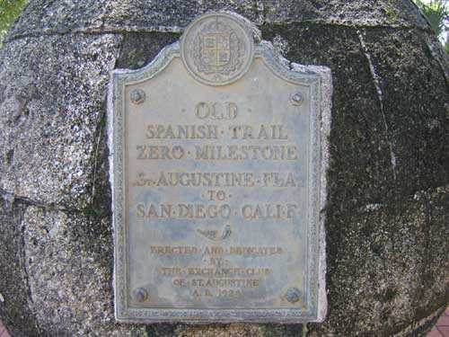 The Old Spanish Trail's Zero Marker - Inschrift