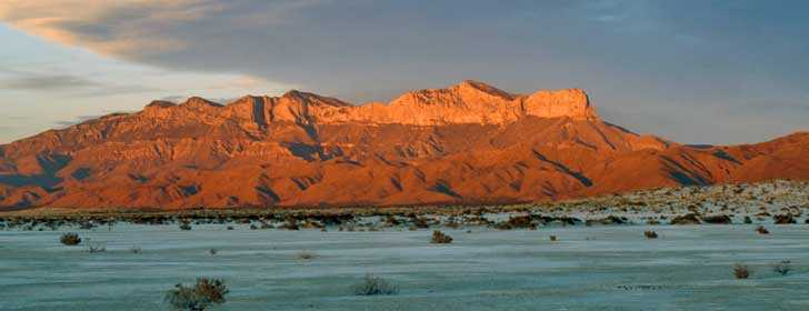 West face of Guadalupe Mountains at sunset 2006